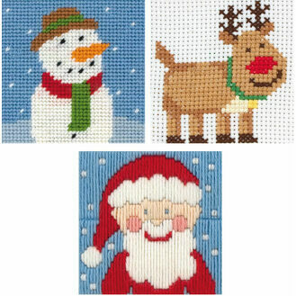 1st Mixed Christmas Needlecraft Pack-Santa, Rudolph, Frosty (Set Of 3)