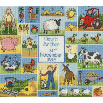 Patchwork Farm Birth Sampler Cross Stitch Kit