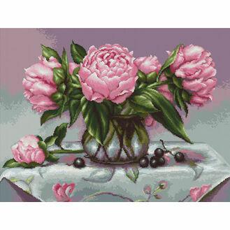 Vase Of Peonies Cross Stitch Kit