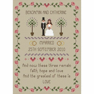 Faith, Hope, Love Wedding Sampler Cross Stitch Kit