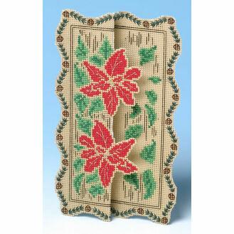 Poinsettia 3D Cross Stitch Card Kit