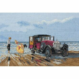 Vintage Rolls On The Beach Cross Stitch Kit
