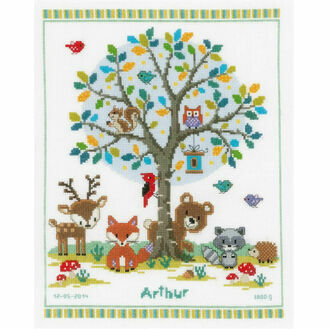 Into The Woods Birth Sampler Cross Stitch Kit