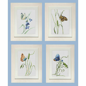 Set Of 4 Butterfly Cross Stitch Kits