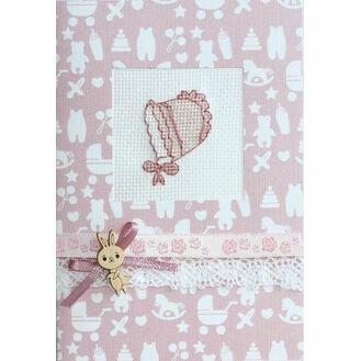 Pink Bonnet Cross Stitch Card Kit
