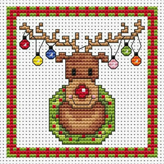 Rudolf Lights Cross Stitch Christmas Card Kit