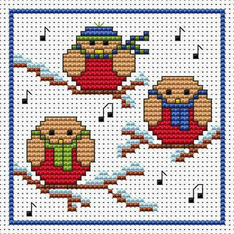 Rockin' Robins Cross Stitch Christmas Card Kit