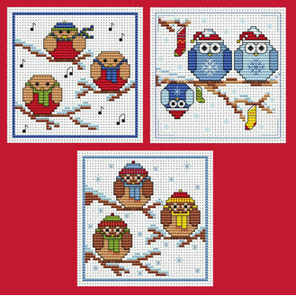Rockin' Robins & Owls Cross Stitch Christmas Card Kits - Set Of 3