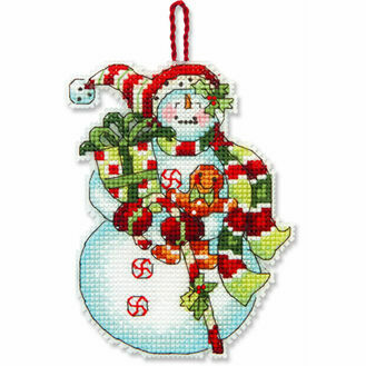 Snowman With Sweets Ornament Cross Stitch Kit