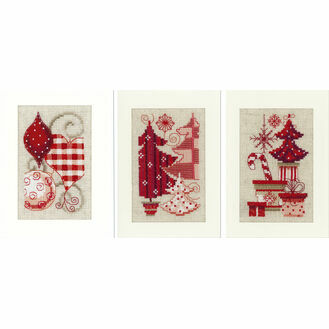 Christmas Motif Cross Stitch Card Kits - Set Of 3