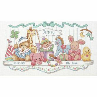 Toy Shelf Birth Record Cross Stitch Kit