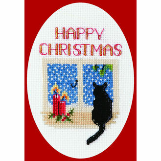 Christmas Cat Cross Stitch Card Kit