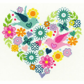 Heart Bouquet Cross Stitch Kit
