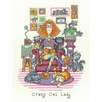 Crazy Cat Lady Cross Stitch Kit