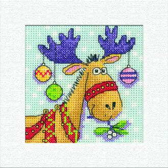 Reindeer Square Christmas Card Cross Stitch Kit