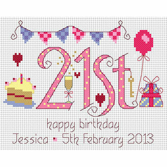 21st Birthday Pink Cross Stitch Kit
