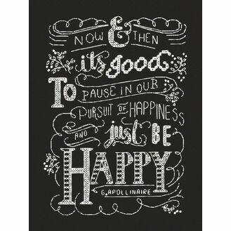 Just Be Happy Chalkboard Cross Stitch Kit