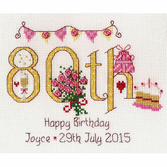 80th Birthday Numbers Cross Stitch Kit