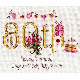 80th Birthday Numbers Cross Stitch Kit