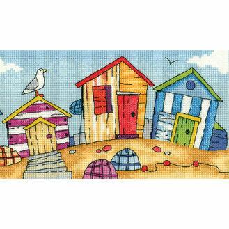 Beach Huts Cross Stitch Kit