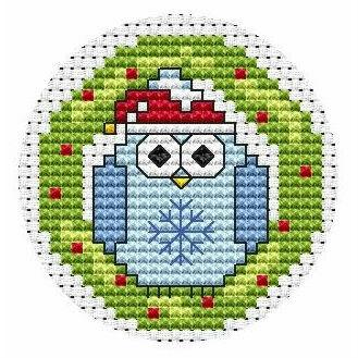 Twitt Wreath Christmas Card Cross Stitch Kit