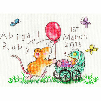Squeaky Wheels Birth Sampler Cross Stitch Kit