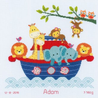 Animals In The Boat Cross Stitch Kit