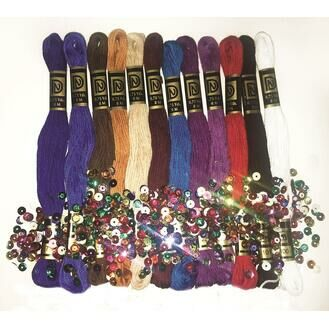 Zenbroidery Jewel Tones Trim Pack (12 skeins of stranded cotton thread)