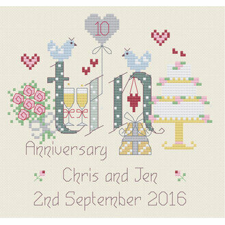 Tin 10th Wedding Anniversary Cross Stitch Kit