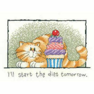 Diet Tomorrow Cat Cross Stitch Kit