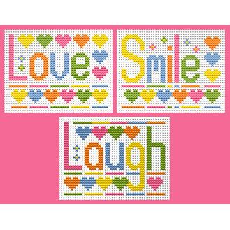 Sew Simple Set Of 3, Laugh, Love, Smile Cross Stitch Kits