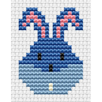 Easy Peasy Bunny Head Blue Cross Stitch Kit
