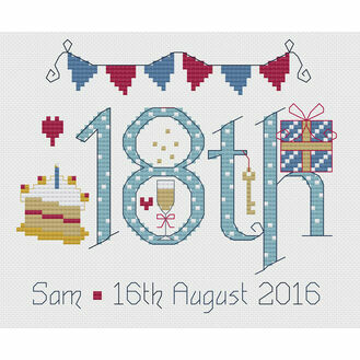 18th Birthday Blue Cross Stitch Kit