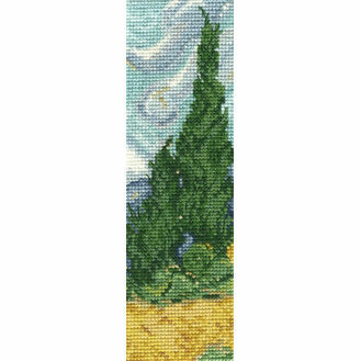 Van Gogh A Wheatfield With Cypresses Bookmark Cross Stitch Kit