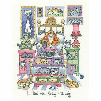 In Bed With Crazy Cat Lady Cross Stitch Kit