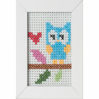 Owl Felt Cross Stitch Kit With Frame