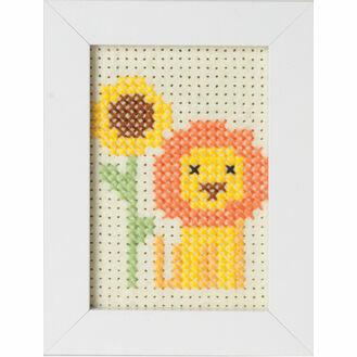 Lion Felt Cross Stitch Kit With Frame