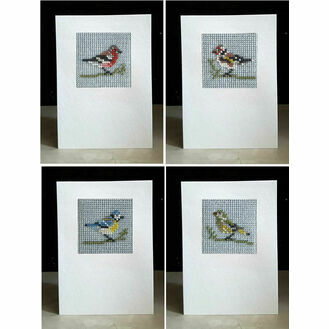 Birds Set Of 4 Mini Beadwork Embroidery Card Kits (Blue Tit, Greenfinch, Chaffinch & Goldfinch)