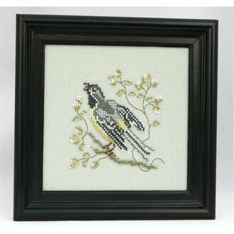 Grey Water Wagtail Beadwork Embroidery Linen Kit
