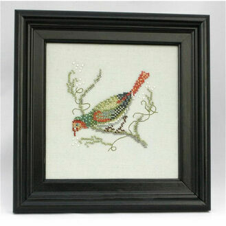 Green Headed Goldfinch Beadwork Embroidery Linen Kit
