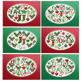 Jolly Holly Cross Stitch Christmas Card Kits (set of 6)