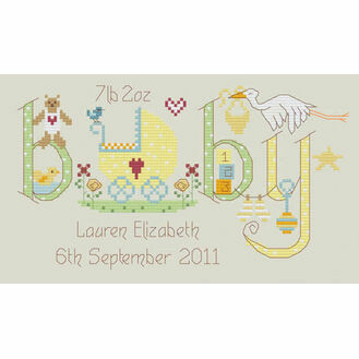 Baby Neutral Birth Sampler Cross Stitch Kit