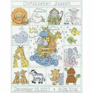 Noah\'s Animals Birth Sampler Cross Stitch Kit