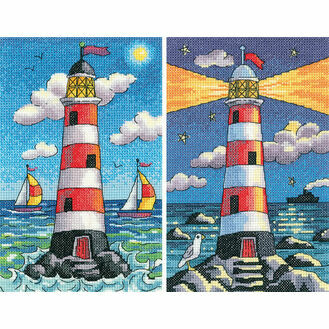 Set Of Two Lighthouse Cross Stitch Kits