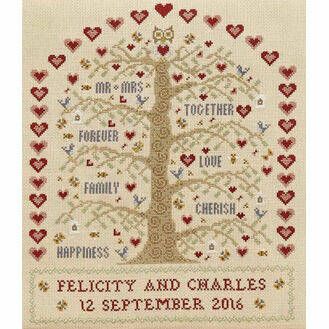 Heart And Tree Wedding Sampler Cross Stitch Kit