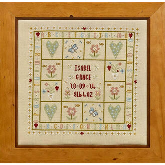 Four Hearts Birth Sampler Cross Stitch Kit