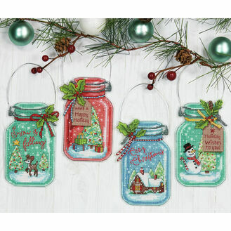 Christmas Jar Ornaments Cross Stitch Kit