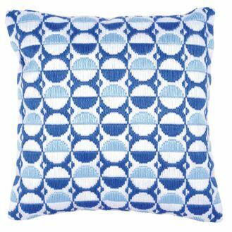 Blue Circles Long Stitch Cushion Panel Kit