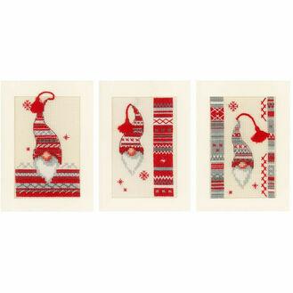 Christmas Elf Cross Stitch Christmas Card Kits (Set of 3)