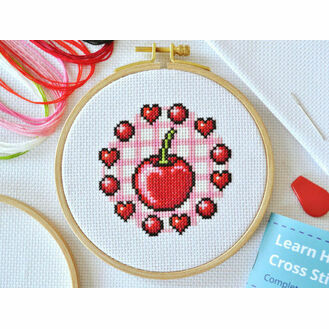 Beginners Cherry - Learn How To Cross Stitch Complete Tutorial Kit